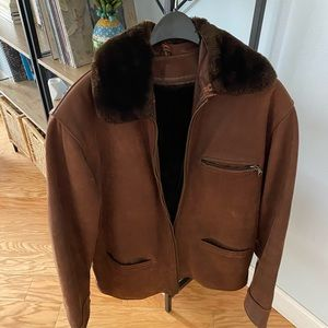 Chevignon suede leather jacket w/winter lining